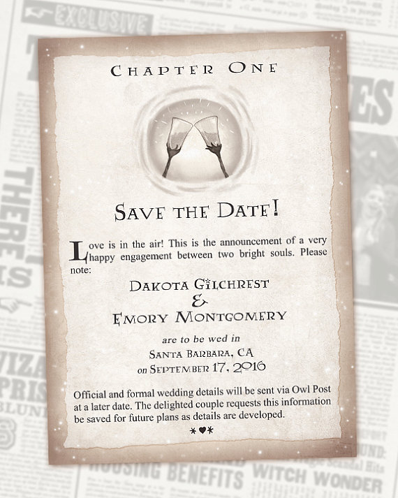 harry potter wedding invitations nerdy save the dates for your wedding popcorner 4735