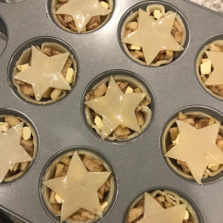 DIY apple pie with stars on crust